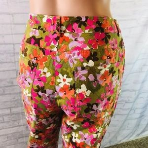 Etcetera Cropped Ankle Pants Size 8 Floral Print